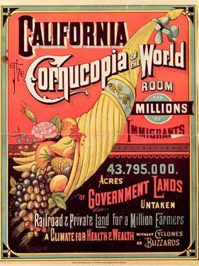 California, Cornucopia of the World, Published by Rand Mcnally and Co., C.1870