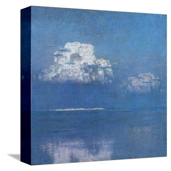 Calm Sea near the Dunes of Lyste-Eugen Bracht-Stretched Canvas Print