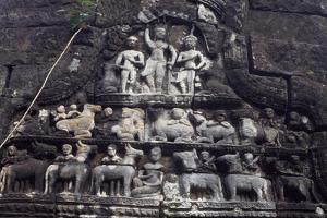 Cambodia, Angkor, Relief in Preah Khan Complex