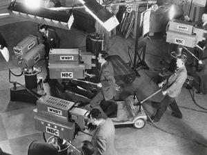 Cameras are Tested on the Television Studio Set before the Program Goes on the Air