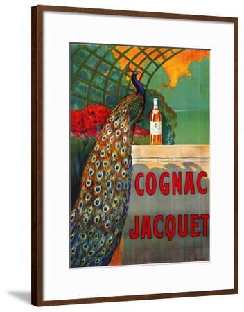 Vintage Art Print cognac peacock green Framed painting Canvas drink advert