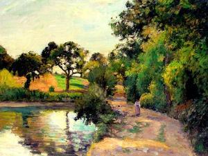 A Pond at Montfoucault, 1874 by Camille Pissarro