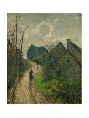 Chemin montant a Osny - ascending path in Osny, 1883. Oil on canvas, 55,5 x 46,2 cm. by Camille Pissarro