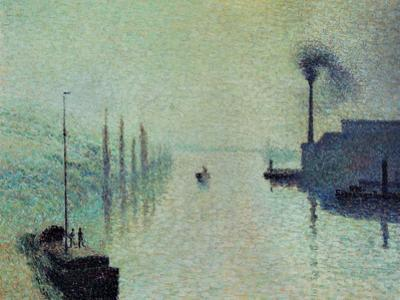 """Lacroix Island """"The Effect of Fog"""" 1888 by Camille Pissarro"""