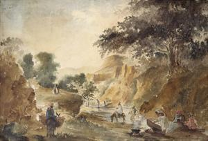 Landscape with Figures by a River, 1853 - 1854 (Watercolour over Pencil) by Camille Pissarro