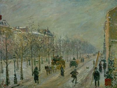 Les Boulevards exterieurs, effet de neige, 1879. Paris, Boulevards exterieurs in the snow. by Camille Pissarro