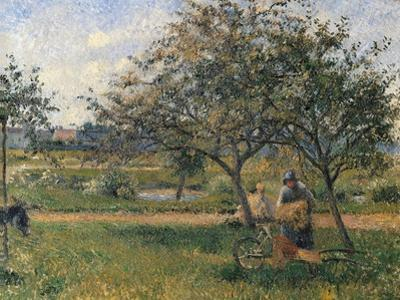 Orchard, the Wheelbarrow by Camille Pissarro