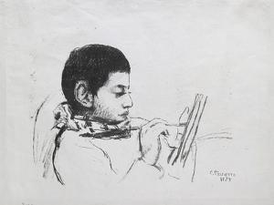 Portrait De Lucien Pissarro, 1874 by Camille Pissarro