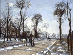 Road to  Versailles at Louveciennes: Winter and Snow by Camille Pissarro