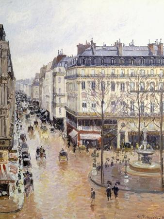 Rue Saint Honore, Afternoon, Rain Effect by Camille Pissarro