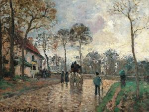 Stagecoach at Louveciennes by Camille Pissarro