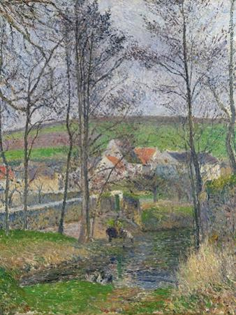 The Banks of the Viosne at Osny in Grey Weather, 1883 by Camille Pissarro