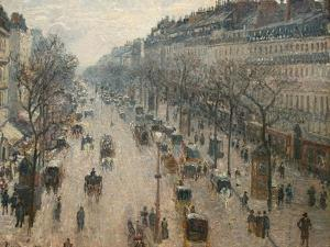 The Boulevard Montmartre on a Winter Morning by Camille Pissarro