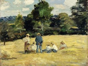 The Harvesters Rest, Montfoucault; Le Repos Des Moissoneurs, Monfoucault, 1875 by Camille Pissarro