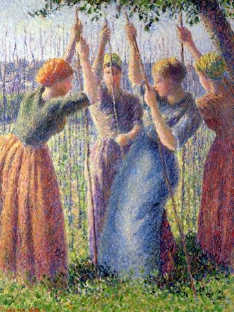 Women Planting Peasticks, 1891 by Camille Pissarro