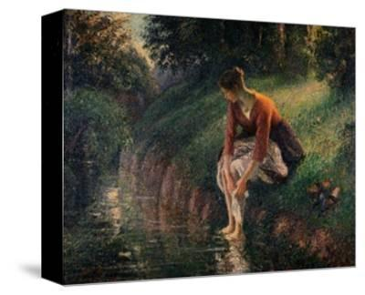 Young Woman Bathing Her Feet in a Brook