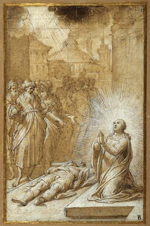 Female Saint Praying by the Body of a Dead Man