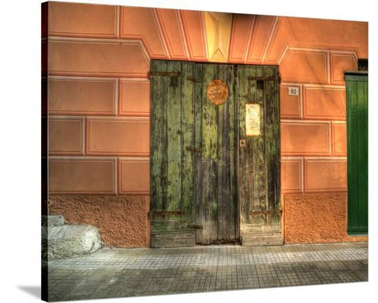 Camogli Green Doors-Richard Desmarais-Stretched Canvas Print