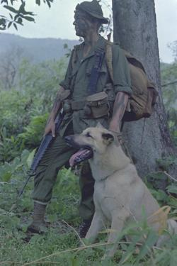 Camouflaged US Marine and His Scout Dog Named 'Major' in Vietnam, Nov. 1967
