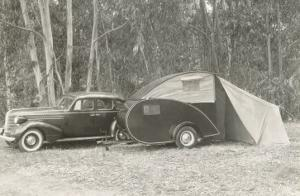 Camping with Tear-Drop Trailer Tent