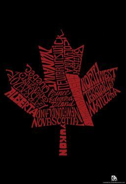 Canada Provinces Maple Leaf Text Poster