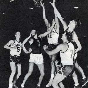 Canadian and Russian Basketball Teams Competing at the 1956 Melbourne Olympic Games
