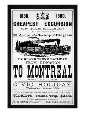 Grand Trunk Railway Poster, 1880 (Engraving) by Canadian