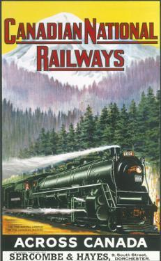 Canadian National Railways Poster Showing a Steam Engine Train in Canada