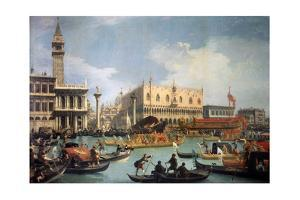 Buccentoro's Return to the Pier at the Doges' Palace, 1730S by Canaletto