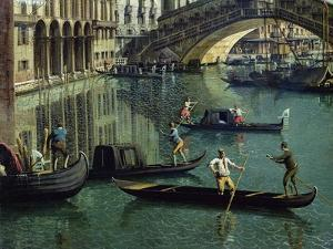 Gondoliers Near the Rialto Bridge, Venice (Detail) by Canaletto