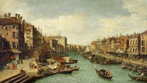The Grand Canal Near the Rialto Bridge, Venice, C.1730 by Canaletto