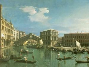 The Rialto Bridge, Venice by Canaletto