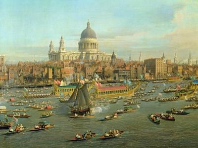 The River Thames with St. Paul's Cathedral on Lord Mayor's Day, Detail of St. Paul's Cathedral by Canaletto