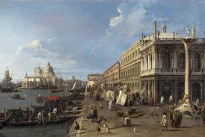Venice: Dock Facing the Zecca Palace with the Column of Saint Theodoro by Canaletto