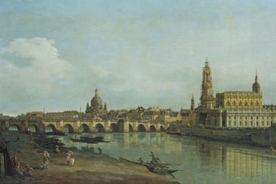 View of Dresden from the Right Bank of the River Elbe Upriver of the Augustusbruecke, 1747