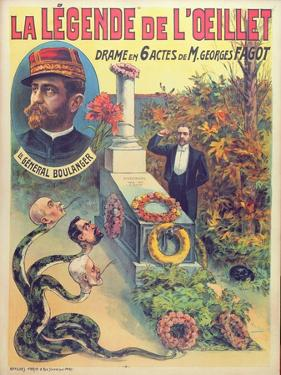 Poster Advertising 'La Legende De L'Oeillet', a Play by Georges Fagot (Colour Litho) by Candido Aragonez de Faria