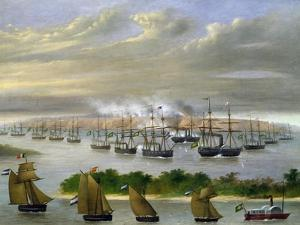 Argentinian Fleet in Channel of Paso De La Patria, April 23, 1866 by Candido Lopez