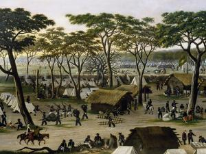 Establishing an Argentine Military Camp Along River Parana, Detail by Candido Lopez