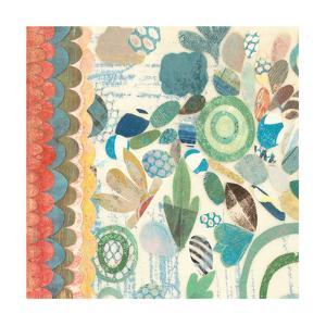 Raining Flowers with Border Square I by Candra Boggs