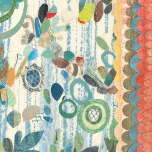 Raining Flowers with Border Square III by Candra Boggs