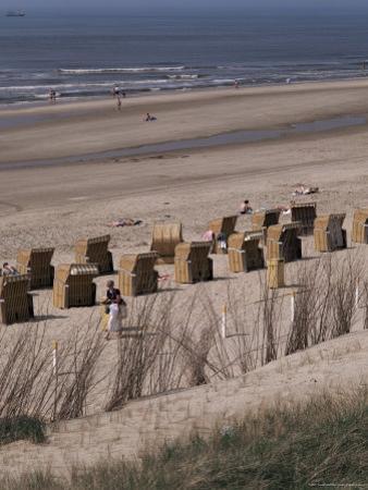 Cane Chairs on Beach, Egmond, Holland by I Vanderharst