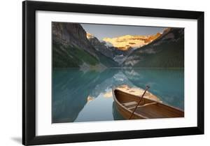 Canoe on Lake Louise at Sunrise