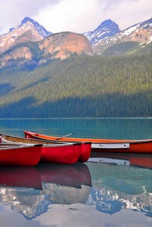 Canoes Turquoise Lake Canada