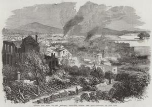 Canton and Part of the Suburbs, Sketched During the Conflagration in the City