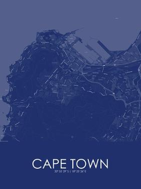 Cape Town, South Africa Blue Map