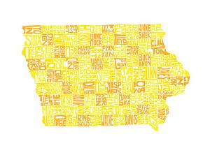 Typographic Iowa Yellow Orange by CAPow
