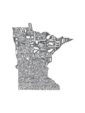 Typographic Minnesota Charcoal by CAPow