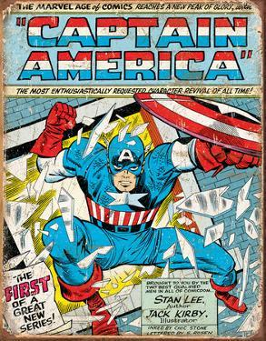 Captain America Comic Cover Tin Sign