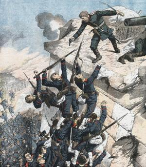 Captain Lebedief Heroically Defending the Bastion at Port Arthur, Russo-Japanese War, 1904-5