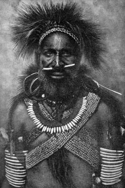 Captain of a Company of Cannibal Fighting Men, New Guinea, 1922